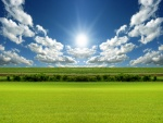 El sol iluminando un campo verde