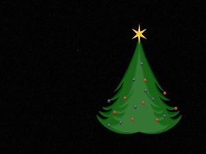 Postal: Un árbol de Navidad en fondo negro