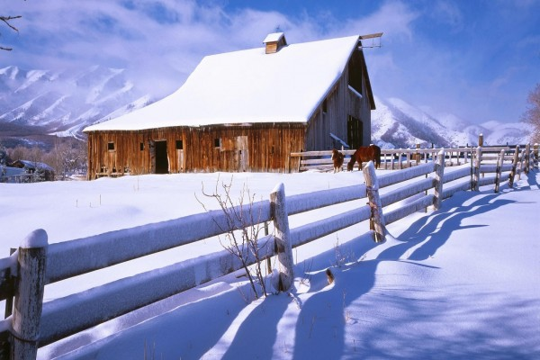 Granero en la nieve