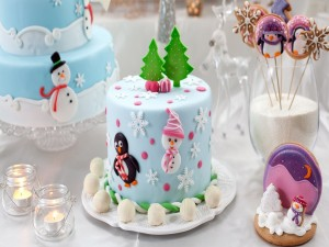 Postal: Pasteles y galletas de Navidad