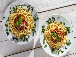 Postal: Espaguetis con albóndigas