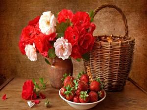 Postal: Rosas y fresas