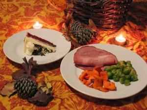 Postal: Primer plato y postre de una cena otoñal