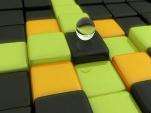 Canica sobre unos cubos de colores