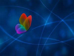 Mariposa digital sobre una línea azul