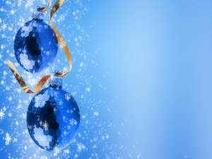 Postal: Bolas navideñas azules