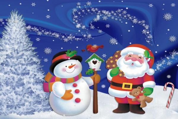Muñeco de nieve y Papá Noel esperando la Navidad