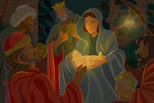 Los Reyes Magos admirando al niñito Jesús