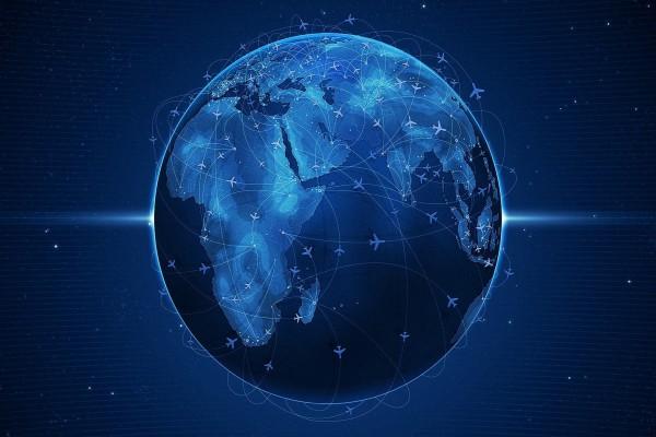 Mapa de vuelos en la Tierra
