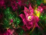 Flores digitales de color fucsia