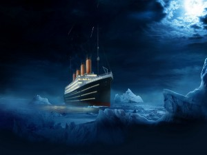 Postal: El Titanic entre icebergs