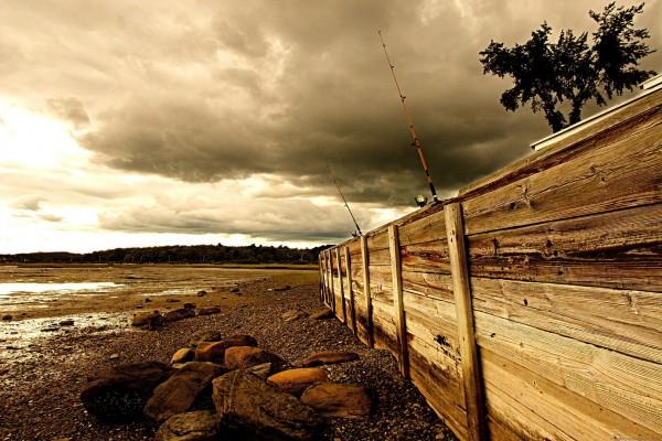 Cañas de pescar tras la valla de madera