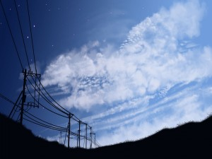 Nubes y estrellas en el cielo