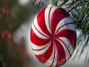 Bola candy colgada de una rama