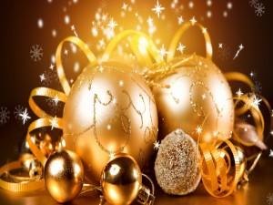 Postal: Decoración dorada navideña