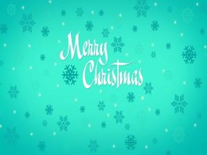 Postal: Copos de nieve y Feliz Navidad