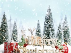 Postal: Feliz Navidad sobre la nieve