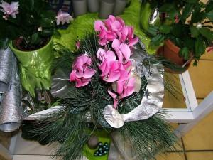 Postal: Planta con adornos navideños