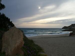 Postal: Crepúsculo en cala Tarida, Ibiza
