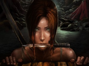 Lara con un cuchillo en la boca (Tomb Raider)