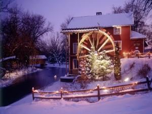 Molino en Navidad