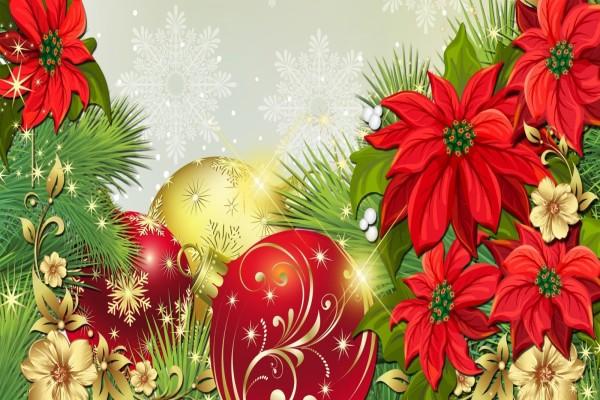 Flores y esferas para una feliz Navidad