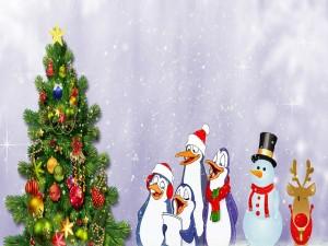 Cantando alrededor del árbol de Navidad