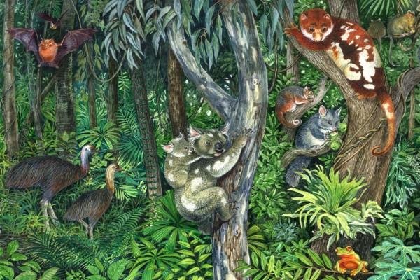 Imagen con varios animales entre los árboles
