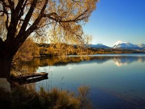 Postal: Cielo azul sobre el lago