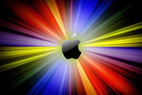 Logo de Apple con rayos resplandecientes
