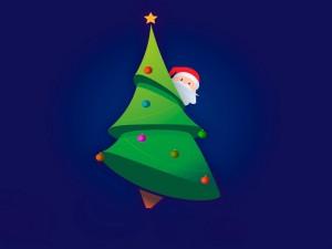 Postal: Santa Claus tras un árbol de Navidad