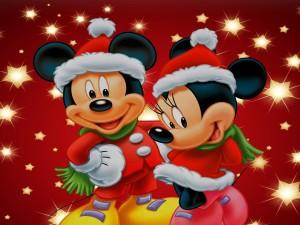 Postal: Mickey y Mini Mouse en tiempo de Navidad