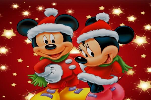 Mickey y Mini Mouse en tiempo de Navidad