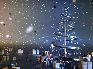 Regalos navideños junto a un árbol moderno