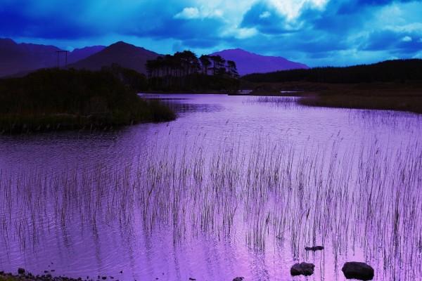 Río color lila
