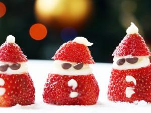 Fresas adornadas de Santa Claus