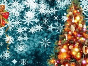 Luces en el árbol de Navidad