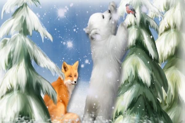 Un zorro junto a un curioso oso polar