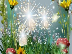 Fuegos artificiales sobre la hierba y las flores