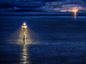 Iluminación de la mar al anochecer