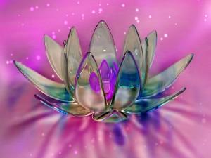 Flor con pétalos de vidrio