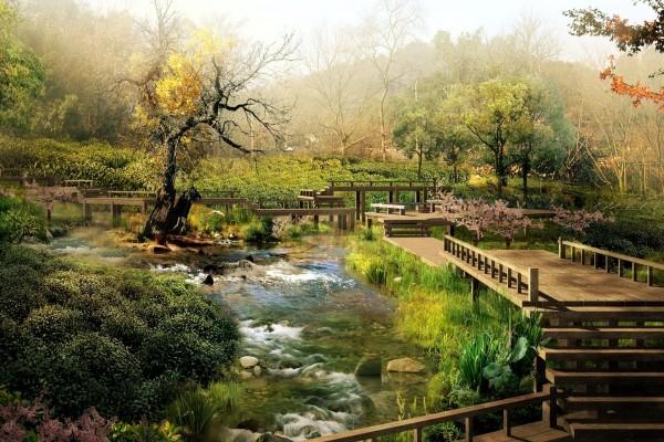 Original puente sobre un río