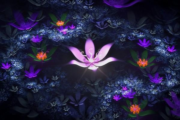 Flor rosa entre flores luminosas