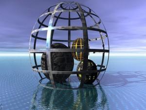 Bolas 3D dentro de una cúpula
