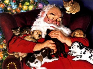 Postal: El amor de Papá Noel por los animales