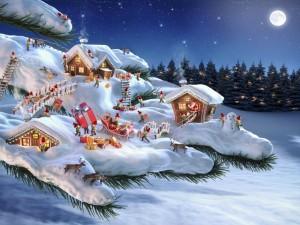 Postal: Organizando el viaje de Santa Claus en su aldea de ensueño