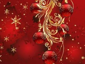 Postal: Estampa navideña con bellos adornos