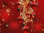 Estampa navideña con bellos adornos