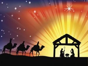 Postal: Los Reyes Magos caminando hacia el Portal de Belén en Navidad