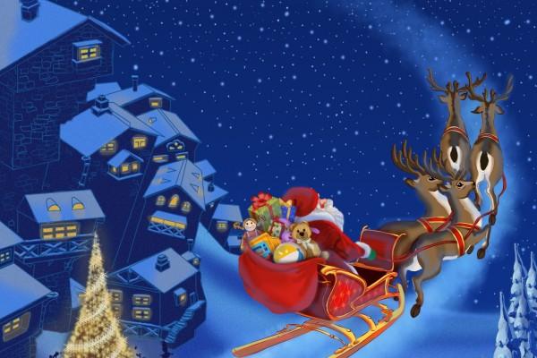 Santa Claus volando en su trineo la noche de Navidad